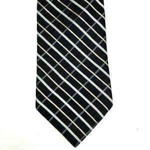 Tommy Hilfiger Silk Tie Black Gold Gray White